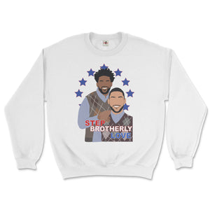 joel embiid and ben simmons of the philadelphia 76ers posing like Step Brothers awkward family photo movie poster on a white sweatshirt from phillygoat