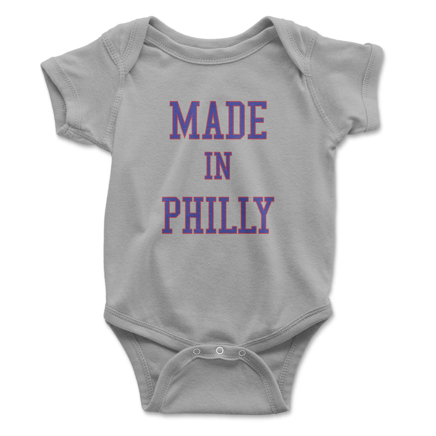 made in philly heather grey baby infant onesie from phillygoat