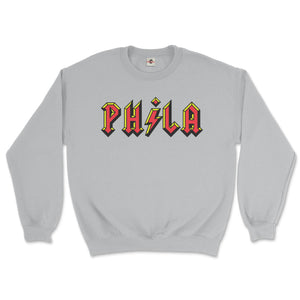 philadelphia acdc phila high voltage design on a sport grey sweatshirt from phillygoat