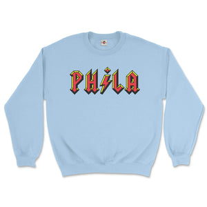 philadelphia acdc phila high voltage design on a light blue sweatshirt from phillygoat