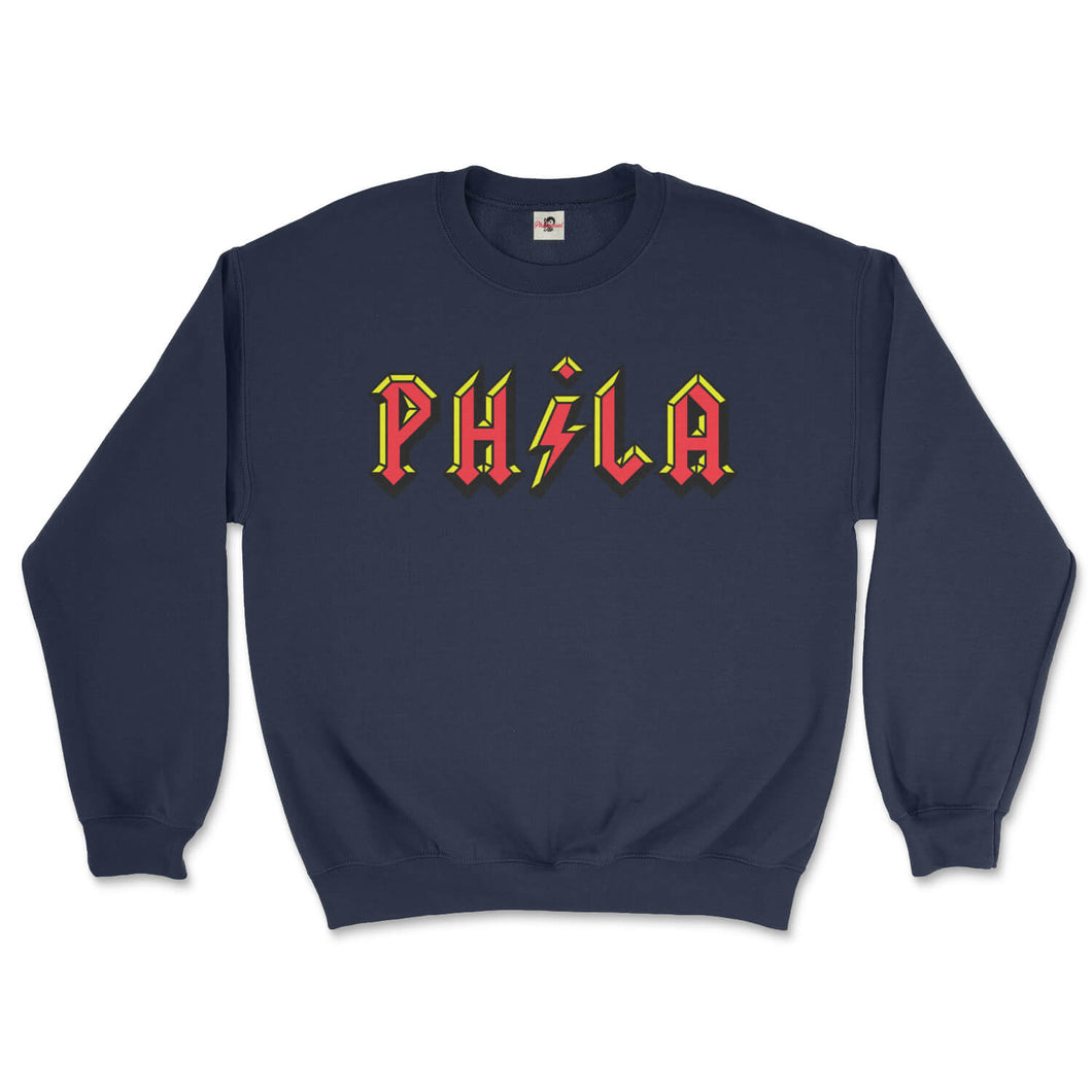 philadelphia acdc phila high voltage design on a navy blue sweatshirt from phillygoat