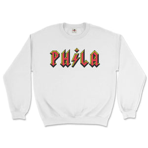 philadelphia acdc phila high voltage design on a white sweatshirt from phillygoat