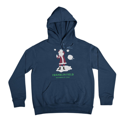 philadelphia eagles fans boo and throw snowballs at santa claus at franklin field retro vintage design on a navy blue hooded sweatshirt from phillygoat