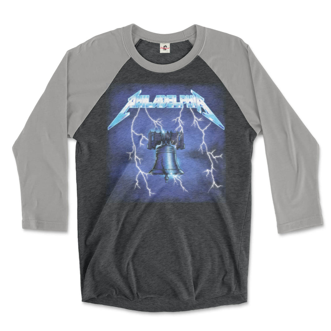 philadelphia metallica ride the lightning design with liberty bell instead of electric chair surrounded by electricity on a premium heather grey and vintage black 3/4 long sleeve tee from phillygoat