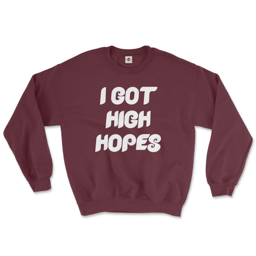 philadelphia phillies i got high hopes vintage retro design on a maroon sweatshirt from phillygoat