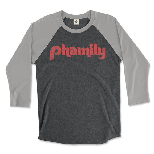 phamily in retro philadelphia phillies script on a premium heather grey and vintage black 3/4 long sleeve raglan tee from phillygoat