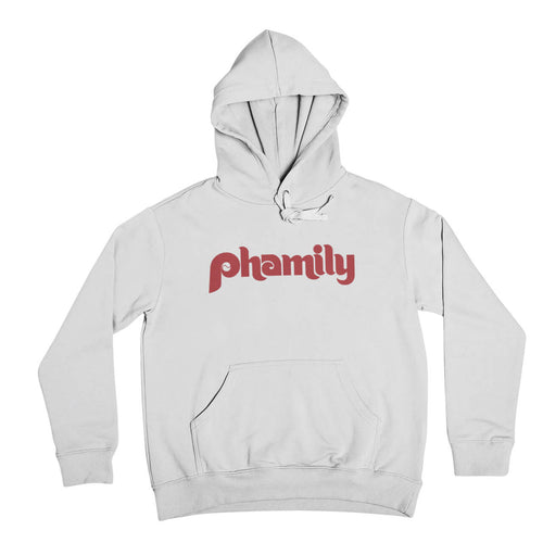 phamily in retro vintage philadelphia phillies script on a white hooded sweatshirt from phillygoat
