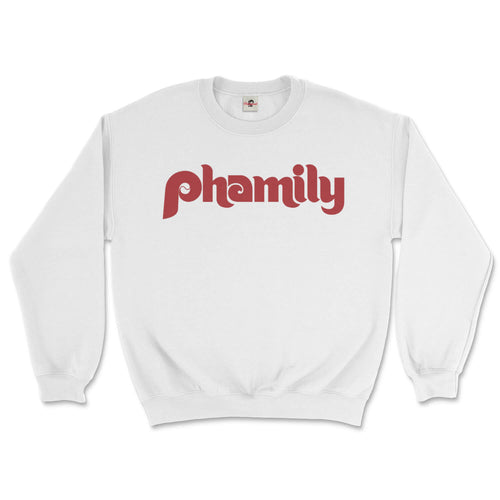 phamily in retro vintage philadelphia phillies script on a white sweatshirt from phillygoat