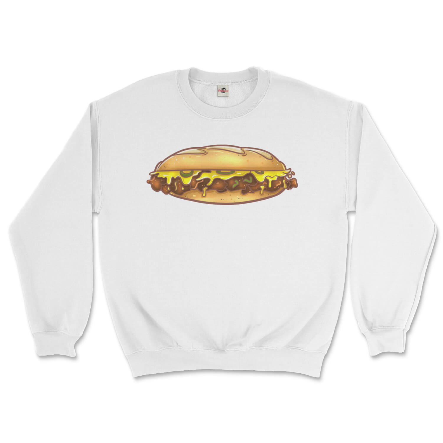 philly cheese steak design on a white sweatshirt from phillygoat