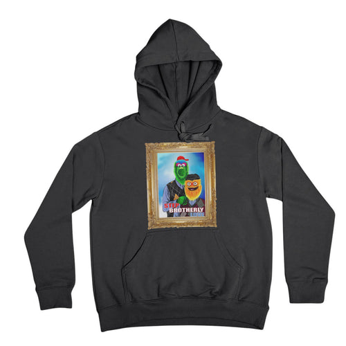 philly phanatic mascot of the philadelphia phillies and gritty mascot of the phildelphia flyers pose in a step brothers awkward family photo portrait design on a black hooded sweatshirt from phillygoat