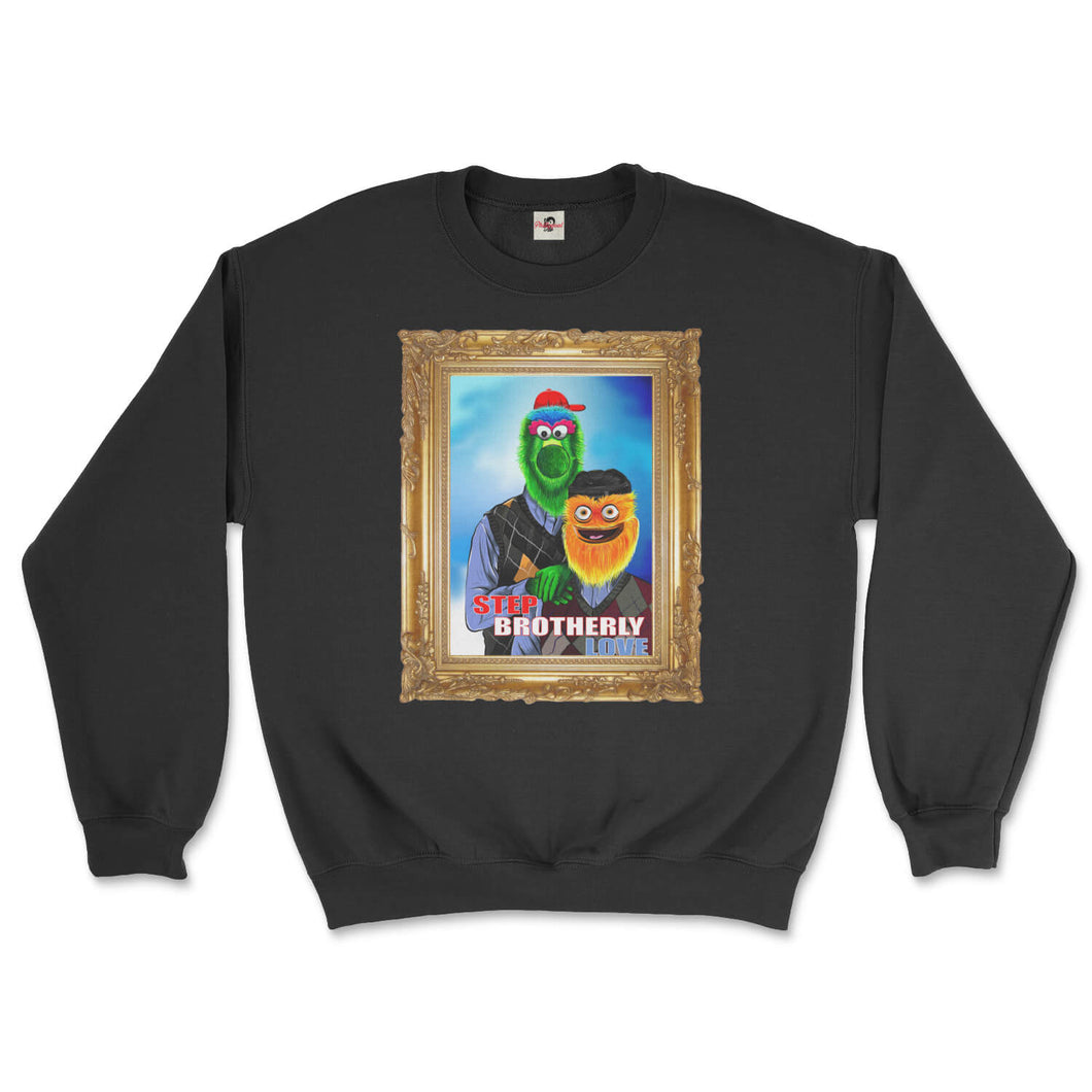 philly phanatic mascot of the philadelphia phillies and gritty mascot of the phildelphia flyers pose in a step brothers awkward family photo portrait design on a black sweatshirt from phillygoat