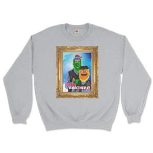philly phanatic mascot of the philadelphia phillies and gritty mascot of the phildelphia flyers pose in a step brothers awkward family photo portrait design on a sport grey sweatshirt from phillygoat