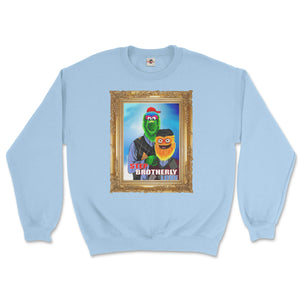 philly phanatic mascot of the philadelphia phillies and gritty mascot of the phildelphia flyers pose in a step brothers awkward family photo portrait design on a light blue sweatshirt from phillygoat