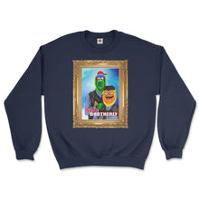 Load image into Gallery viewer, philly phanatic mascot of the philadelphia phillies and gritty mascot of the phildelphia flyers pose in a step brothers awkward family photo portrait design on a navy blue sweatshirt from phillygoat