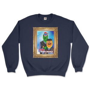 philly phanatic mascot of the philadelphia phillies and gritty mascot of the phildelphia flyers pose in a step brothers awkward family photo portrait design on a navy blue sweatshirt from phillygoat