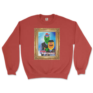 philly phanatic mascot of the philadelphia phillies and gritty mascot of the phildelphia flyers pose in a step brothers awkward family photo portrait design on a red sweatshirt from phillygoat