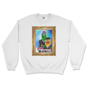 philly phanatic mascot of the philadelphia phillies and gritty mascot of the phildelphia flyers pose in a step brothers awkward family photo portrait design on a white sweatshirt from phillygoat
