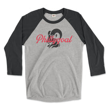Load image into Gallery viewer, philadelphia clothes store phillygoat logo on a vintage black and premium heather grey 3/4 length raglan tee