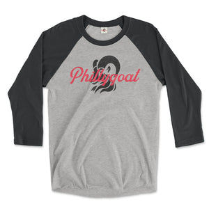 philadelphia clothes store phillygoat logo on a vintage black and premium heather grey 3/4 length raglan tee
