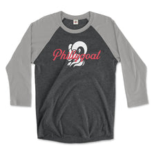 Load image into Gallery viewer, philadelphia clothes store phillygoat logo on a premium heather grey and vintage black 3/4 length raglan tee