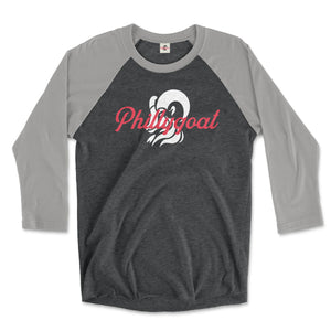 philadelphia clothes store phillygoat logo on a premium heather grey and vintage black 3/4 length raglan tee