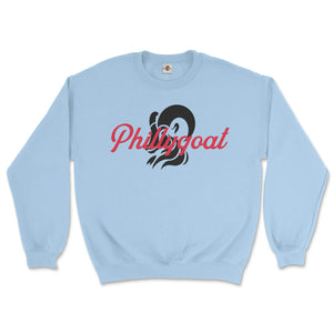 philadelphia clothes store phillygoat logo light blue sweatshirt
