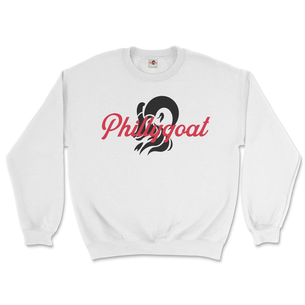 philadelphia clothes store phillygoat logo white sweatshirt