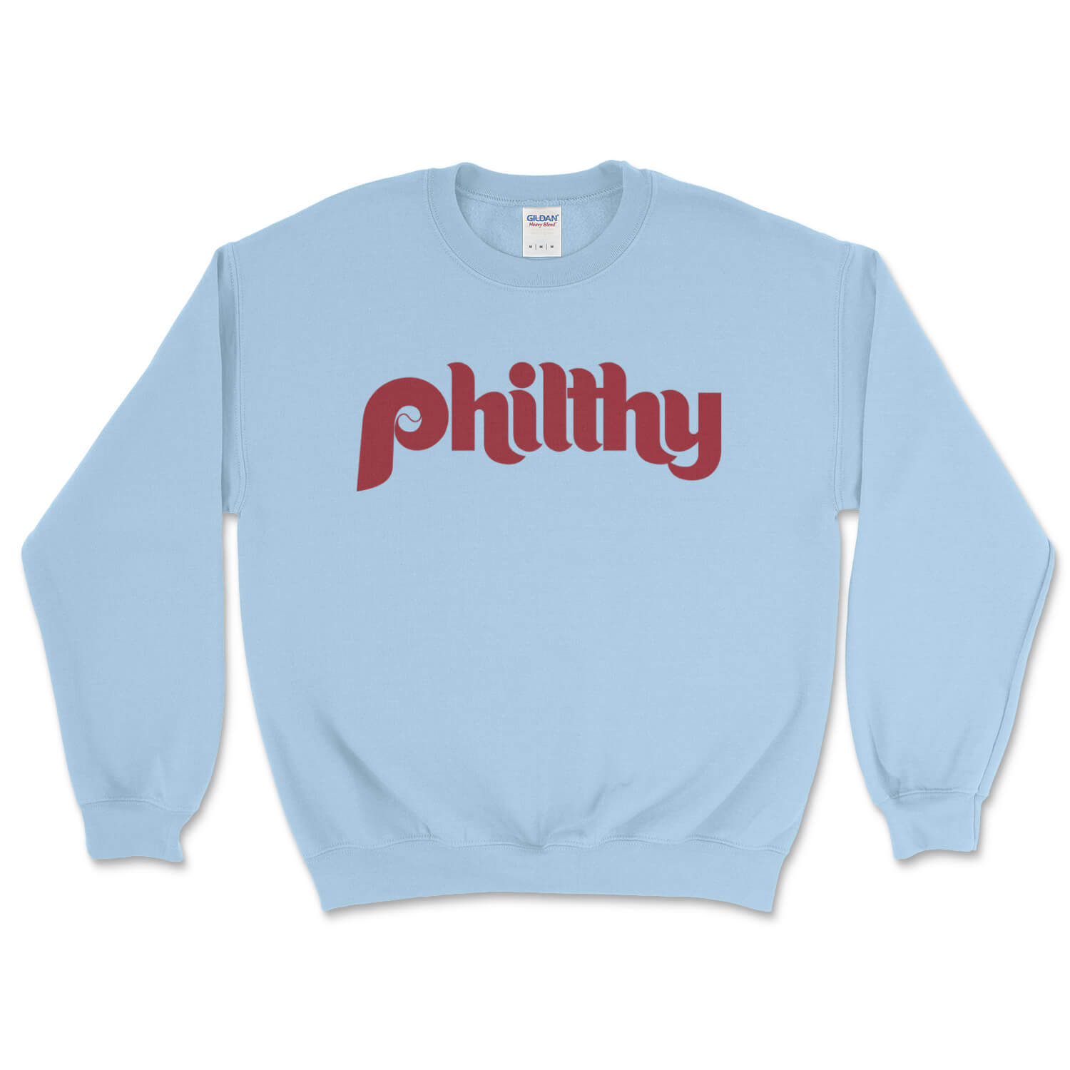 philadelphia phillies philthy vintage retro light blue sweatshirt from phillygoat