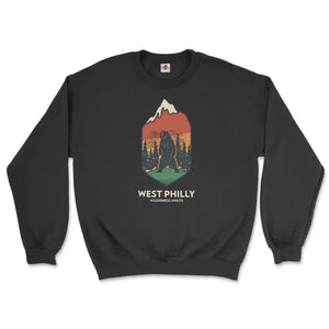 west philadelphia ironic philly wilderness awaits design of bear mountains and trees on a black sweatshirt from phillygoat