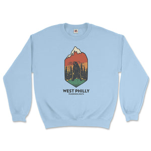 west philadelphia ironic philly wilderness awaits design of bear mountains and trees on a light blue sweatshirt from phillygoat