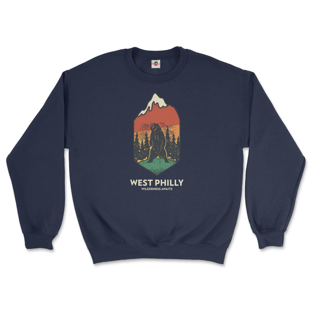 west philadelphia ironic philly wilderness awaits design of bear mountains and trees on a navy blue sweatshirt from phillygoat