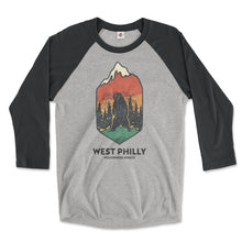 Load image into Gallery viewer, west philadelphia ironic philly wilderness awaits design of bear mountains and trees on a vintage black and premium heather grey 3/4 long sleeve raglan tee from phillygoat