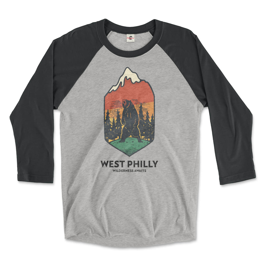 west philadelphia ironic philly wilderness awaits design of bear mountains and trees on a vintage black and premium heather grey 3/4 long sleeve raglan tee from phillygoat