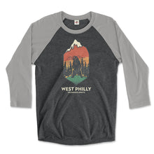 Load image into Gallery viewer, west philadelphia ironic philly wilderness awaits design of bear mountains and trees on a premium heather grey and vintage black 3/4 long sleeve raglan tee from phillygoat