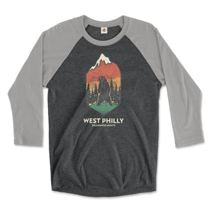 west philadelphia ironic philly wilderness awaits design of bear mountains and trees on a premium heather grey and vintage black 3/4 long sleeve raglan tee from phillygoat