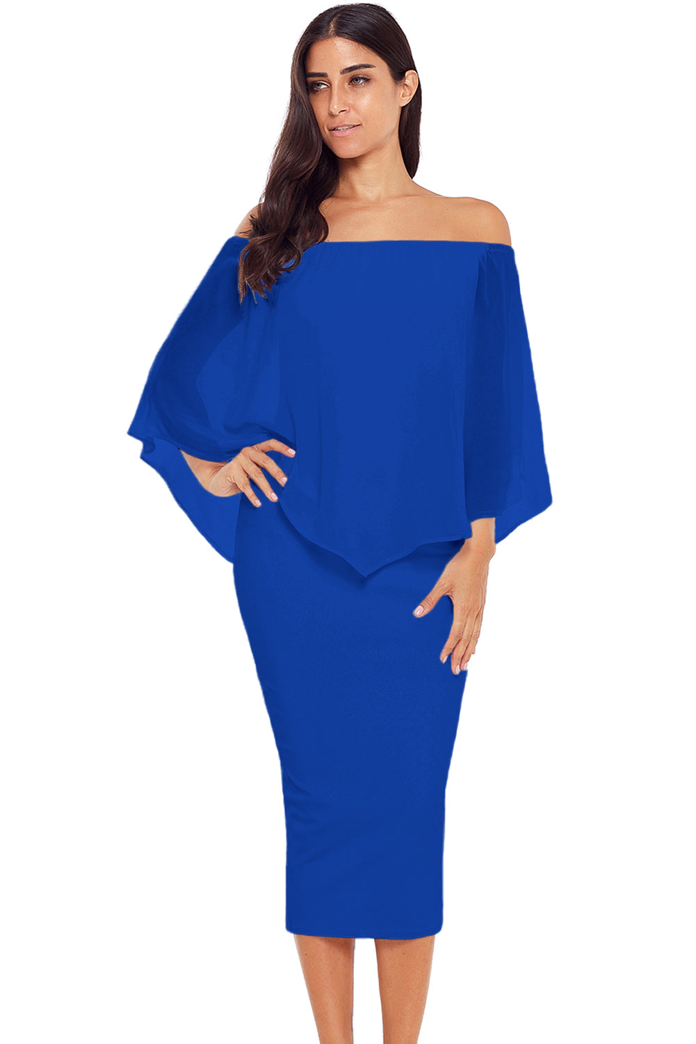Blue Off Shoulder Sleeve Detail Bodycon Midi Dress