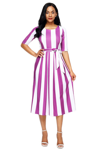 Purple Stripe Print Half Sleeve Belted Dress