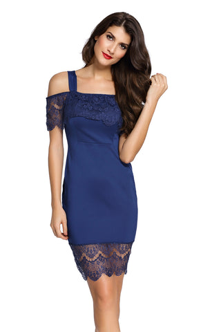 Navy Lace Trim Cold Shoulder Cutout Midi Dress