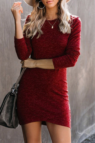 Long Sleeve Wrap Hem Mini Dress