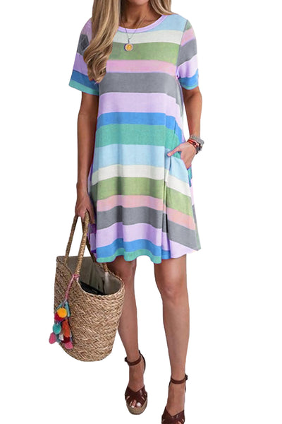 Sky Blue Striped Color Block Casual T-Shirt Dress