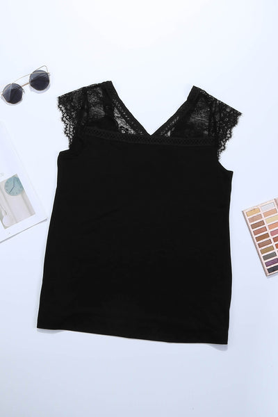 Black Lace Knit Tank