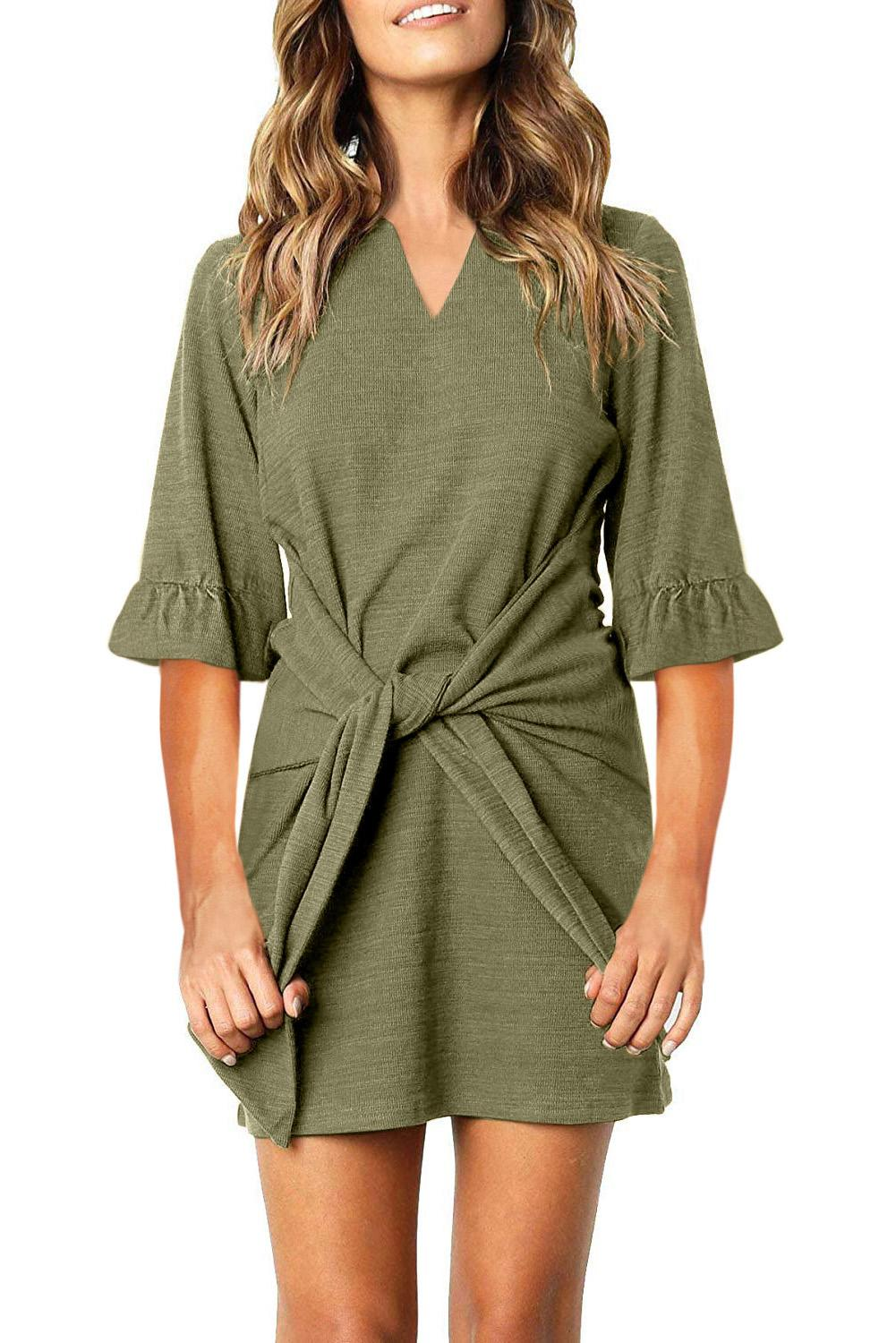 Green V Neck Ruffled Sleeves Waist Tie Mini Dress