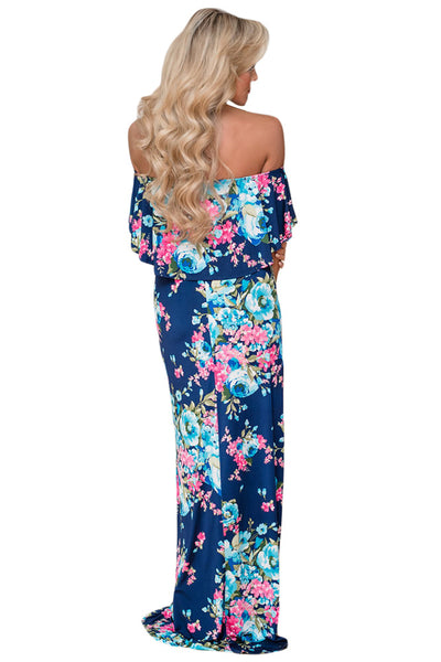 Flower Print Blue Grounding Off Shoulder Long Boho Dress