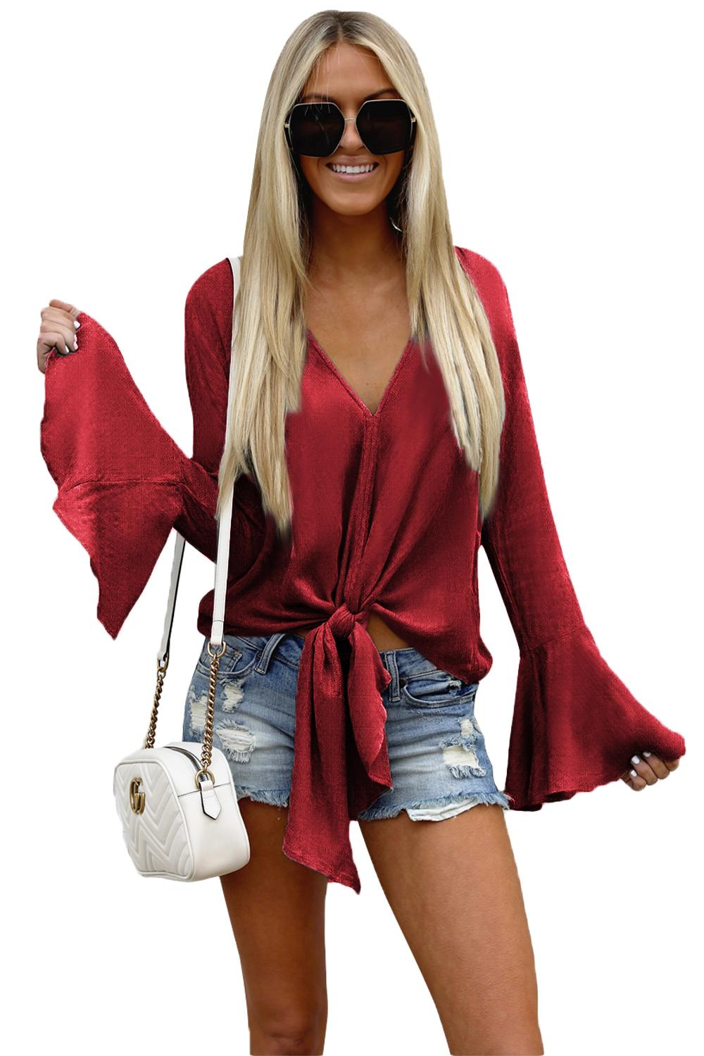 Red Bell Sleeves Tie Front V Neck Blouse