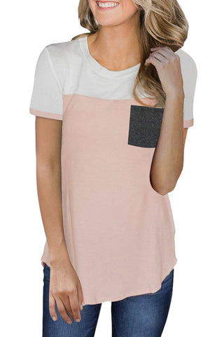 Pink Color Block Pocketed T Shirt