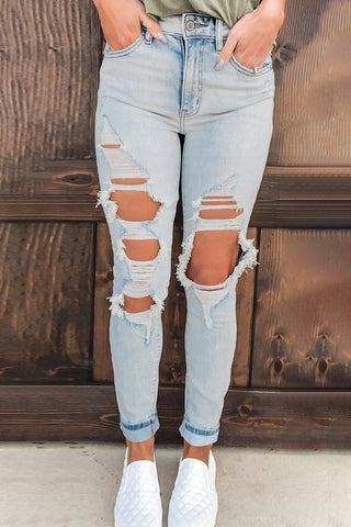 Vintage Washed Distressed Holes High Waist Jeans