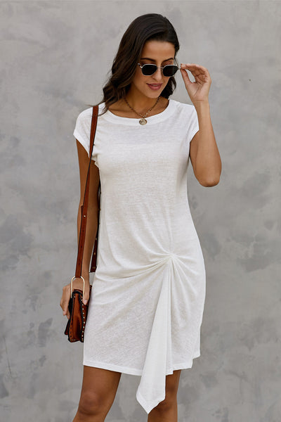 White Low Key Linen Twist T-Shirt Dress