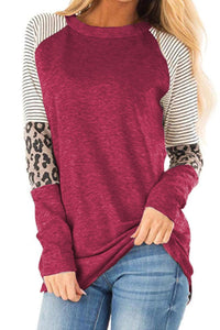 Red Striped and Leopard Color Block Sleeves Top
