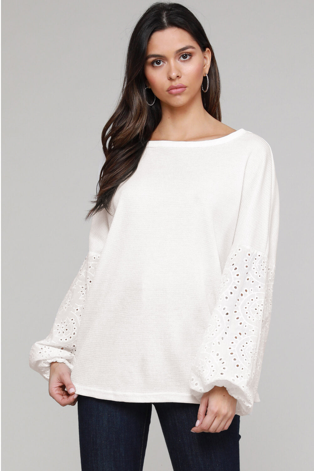 White Loose Casual Puffy Sleeve Top