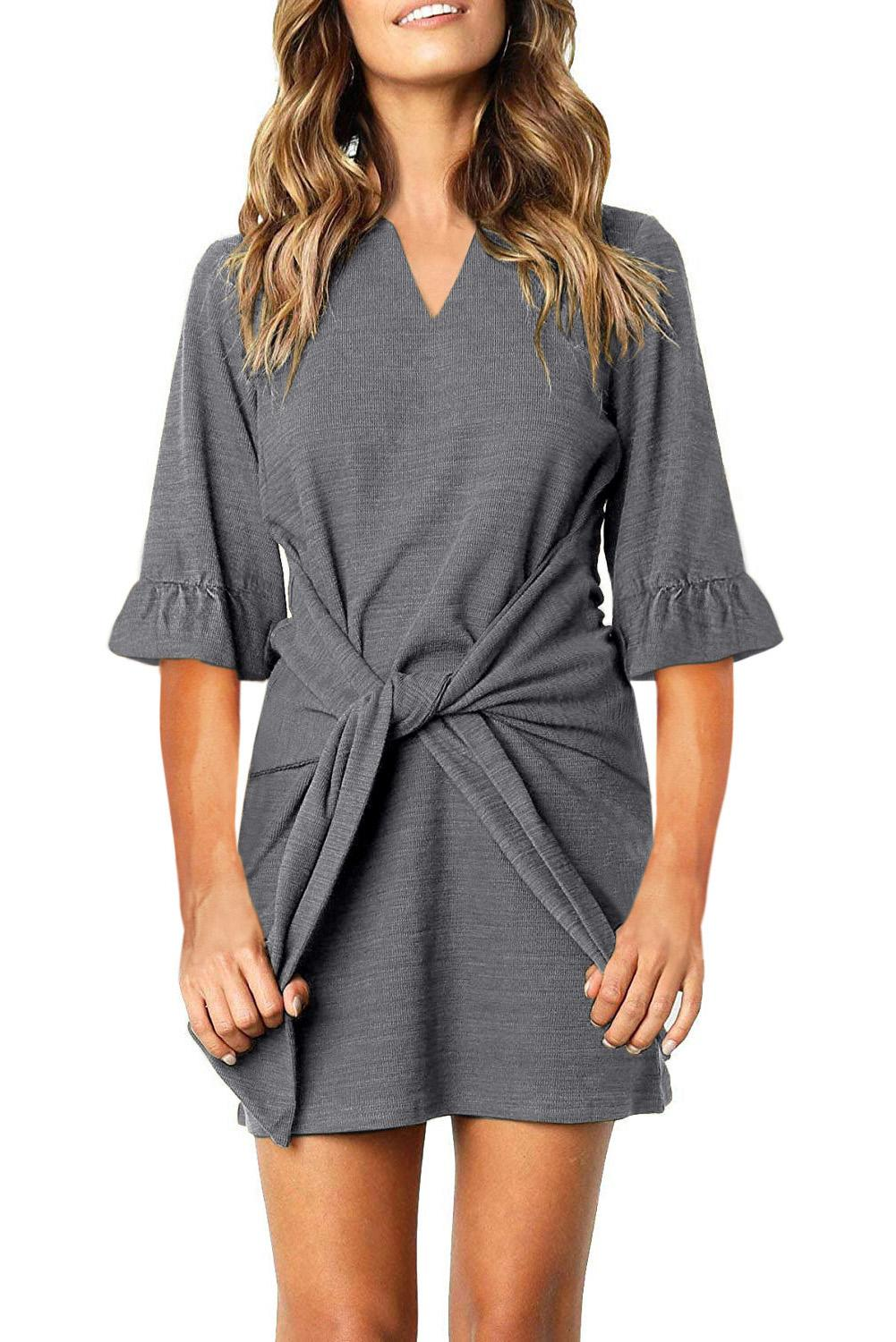Gray V Neck Ruffled Sleeves Waist Tie Mini Dress